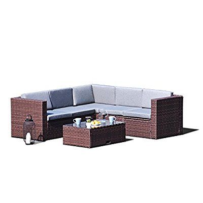 Amazon Com Sky Patio B1035 Br 4 Pieces Outdoor Furniture Complete Patio Wicker Rattan Gard Rattan Garden Corner Sofa Outdoor Furniture Patio Furniture Covers