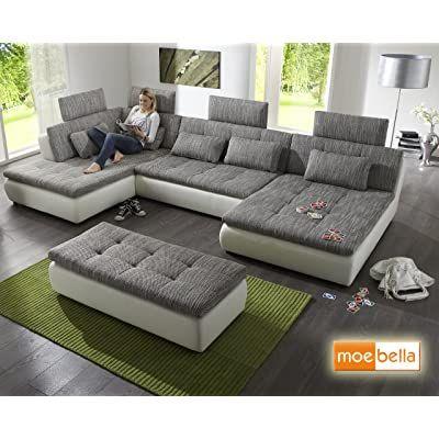 Stella Trading Jakarta U Sofa 3 Teilige Ecke Ecksofa Lederimitat Schwarz Grau 170 X 324 X 107 Cm Amazon De K In 2020 Sofa Mit Bettfunktion Wohnen Wohnzimmer Couch