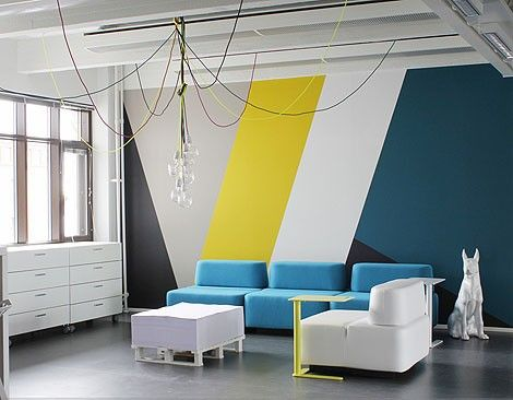 Wall decoration made with black plastic tape, size 200x260cm. Wire ...