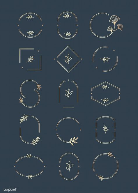 Floral logo design collection on a aegean blue background vector | premium image by rawpixel.com / wan