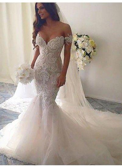 Hot Sale Cute Mermaid Wedding Dresses Off Shoulder Tulle Trumpet Mermaid Chapel Train Weddi Online Wedding Dress Lace Mermaid Wedding Dress Wedding Dress Train