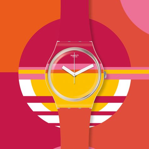ROUG'HEURE Swatch is inspired by that moment the summer sun dips below the surface of the sea. Sunset shades sizzle across this watch and whisk you away to your favorite beach.