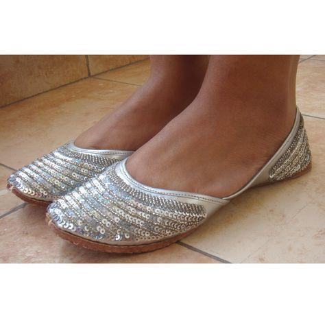 Silver Sequin Bridal Ballet Flats / Wedding Shoes/Handmade Indian Designer Women Shoes or Slippers/Maharaja Style Women Jooties. $32.10, via Etsy.