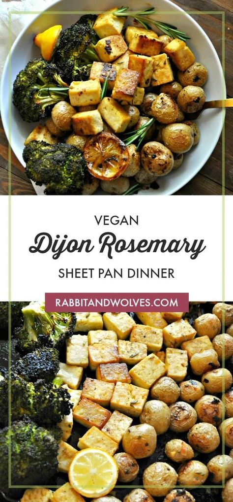 This vegan Dijon rosemary sheet pan dinner is so simple, so delicious and healthy. Tofu, baby potatoes and broccoli roasted in a Dijon rosemary vinaigrette.