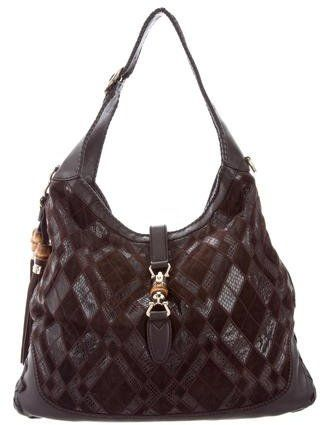 c2522699f Brown suede and python Gucci Large New Jackie hob o bag with gold-tone  hardware, tonal leather trim, optional flat shoulder strap, single flat  handle, ...