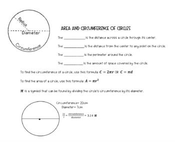 Area And Circumference Circle Notes Teaching Teachers