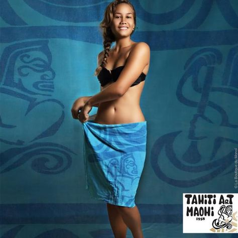 Pareo Tahiti Art Maohi 100% Coton Rameur P10 - La Boutique du Monoi