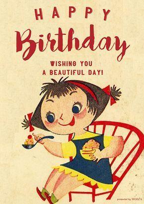 レトロなイラスト好き必見のお誕生日お祝い画像 ヴィンテージバースデーカード ハッピーバースデー イラスト ハッピーバースデー 画像