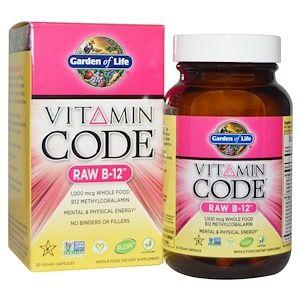 Garden Of Life Vitamin Code Raw B 12 30 Vegan Capsules Garden Of Life Vitamins Vitamins Vitamin Code