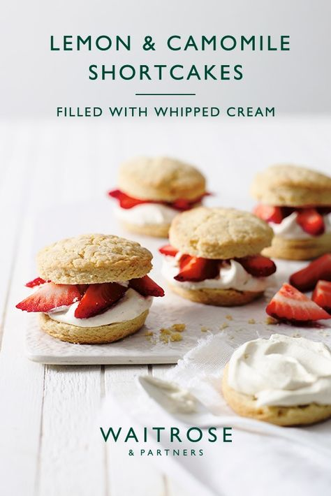 Buttery and delicate shortcakes subtly spiced with camomile, a match made in heaven for sweet British strawberries. Fill with whipped vanilla bean cream for a classic afternoon tea. Tap for the full Waitrose  Partners recipe.