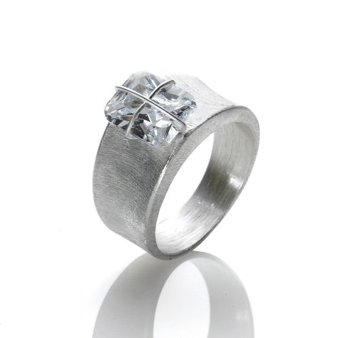 R033001* - Wire Wrapped Cubic Zirconia and Textured Sterling Silver Ring