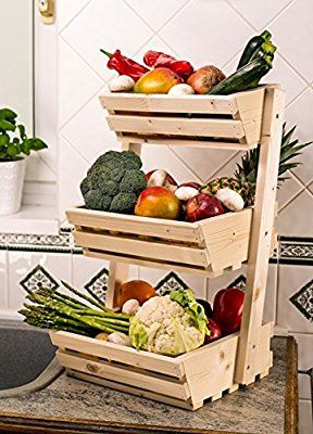 3 Tier Wooden Vegetable Fruit Food Storage Rack Classic Amazon Co Uk Kitchen Amp H Fruteira De Madeira Cozinha De Madeira Mobiliario Com Paletes De Madeira