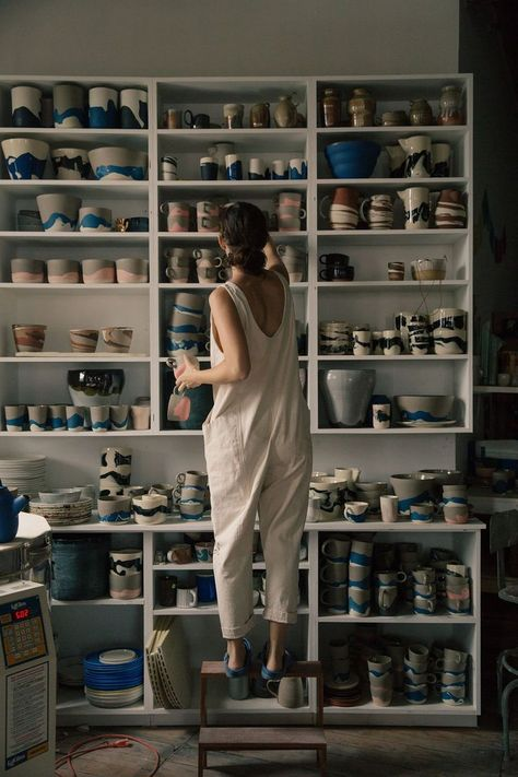 Helen Levi: Clothing Is A Function - Helen Levi: Clothing Is A Function & Eliza., Helen Levi: Clothing Is A Function - Helen Levi: Clothing Is A Function & Elizabeth Suzann Ceramic Pottery, Ceramic Art, Ceramic Design, Batch Production, Ceramic Studio, Clay Studio, Pottery Studio, Art Studios, Shelves