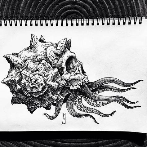 New tattoo project. Kunst Tattoos, Neue Tattoos, Body Art Tattoos, Sleeve Tattoos, Sea Life Tattoos, Art Drawings Sketches, Tattoo Sketches, Tattoo Drawings, Octopus Tattoo Design