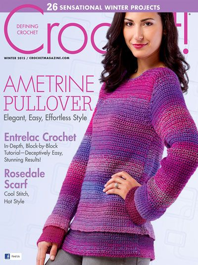 Stitch up some warmth with an instant download of 26 creative and inspiring crochet patterns, including the colorful and easy Ametrine Pullover featured on the cover! Prepare for cooler weather with crochet projects for both men and women that are pe...