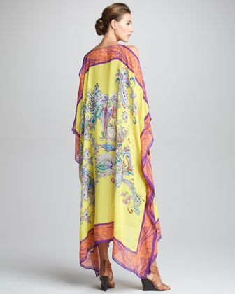 Etro Cutout Shoulder Caftan, Lemon (With images) | Dresses