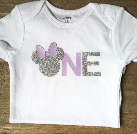 Minnie Mouse First Birthday Tshirt Onesie Purple Silver Glitter Vinyl By Magnoliamarsh Minnie Mouse First Birthday Birthday Tshirts Glitter Vinyl