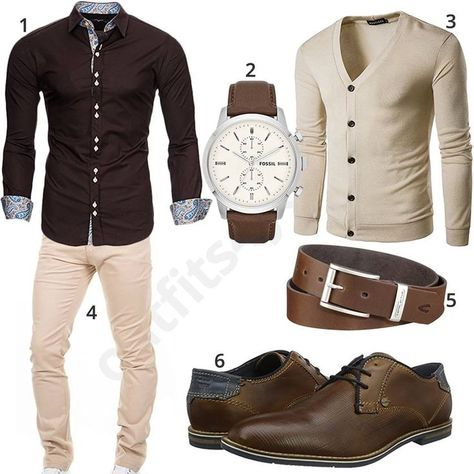 Beige Chino cardigan and Bugatti shoes (m0542) in 2019