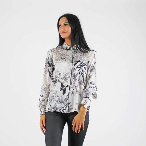 d27062dd79 Glamorous White   Black Floral Long Sleeve Satin Pyjama Style Shirt  newin