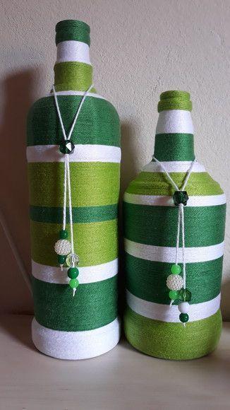Dupla De Garrafas Revestidas Em Barbante Branco Verde Escuro E