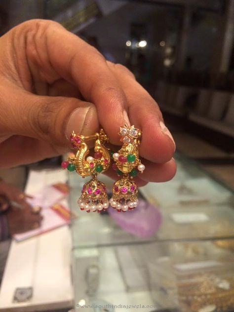 Gold Light Weight Jhumka from PSJ ~ South India Jewels
