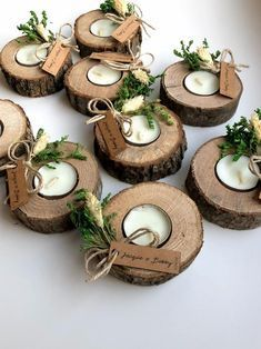 These wood candle holder with customized name tag decorated with real green and beige dry flowers. This items perfect for, wedding favors, unique gifts for guests, thank you gifts, bridal shower favors, baptism favors, bridesmaid favors, engagement favors, party gifts. ✔️You can buy them with name tags or without name tags. ✔️These are come with tealight! ✔️This unique wood tealight holder with selectable customized name tag are perfect favors for guest.