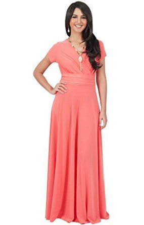 d986866d5f4 KOH KOH Women s Elegant Cap Sleeve Chest Crossover Cocktail Long Maxi Dress  at Amazon Women s Clothing store
