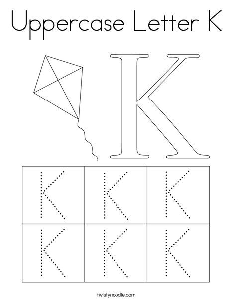 Uppercase Letter K Coloring Page Twisty Noodle Uppercase Letters Lettering Coloring Pages
