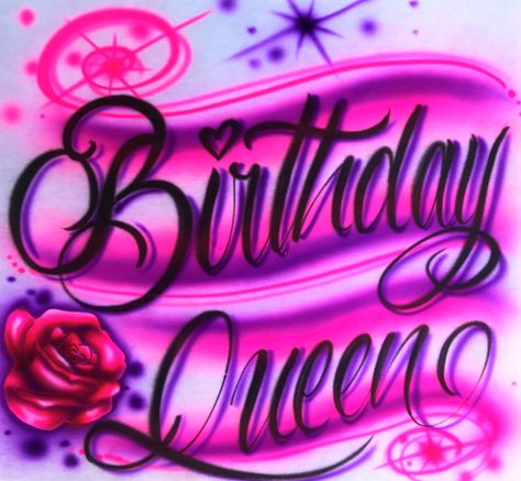 """Airbrush Crown Birthday Queen Custom Tshirt """"Add Your Name/Word/Phrase/"""" by AirbrushGenesis on Etsy Chicano Love, Chicano Art, Airbrush Designs, Airbrush Art, Bad Girl Aesthetic, Pink Aesthetic, Iphone Wallpaper Tumblr Aesthetic, Aesthetic Wallpapers, Chicano Drawings"""