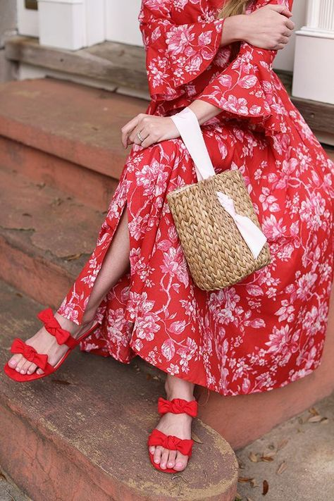 How to match a red dress and red shoes // A pattern plus a solid // Atlantic-Pacific