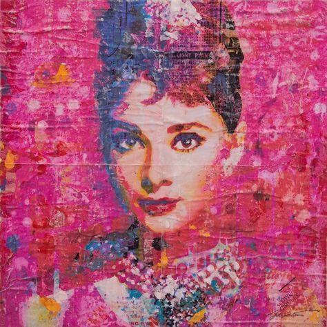 instaart Hepburn On Pink #16x16...