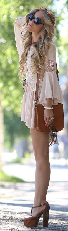 Sheinside Nude Lace Detail Boho Dress