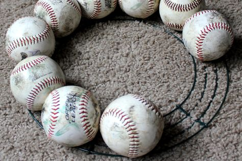 DIY BASEBALL WREATH - Life in Left Field DIY Baseball Wreath<br> Here's a step-by-step tutorial on how to make your own baseball wreath. Celebrate summer, the sport and your favorite baseball player, baseball mom or team. Softball Wreath, Baseball Wreaths, Softball Crafts, Sports Wreaths, Softball Shirts, Baseball Decorations, Softball Cheers, Softball Bows, Cheerleading Gifts