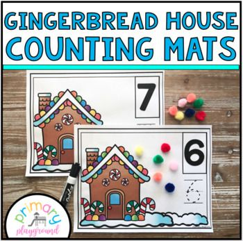 Gingerbread House Counting Mats 1 20 Gingerbread Activities Christmas Crafts For Kids Gingerbread Man Activities