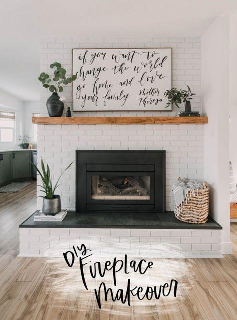 Modern Fireplace Mantles, Wood Mantle Fireplace, Painted Brick Fireplaces, Brick Fireplace Makeover, Home Fireplace, Fireplace Design, Brick Fireplace Remodel, Fireplace Ideas, Paint Brick Fireplace White