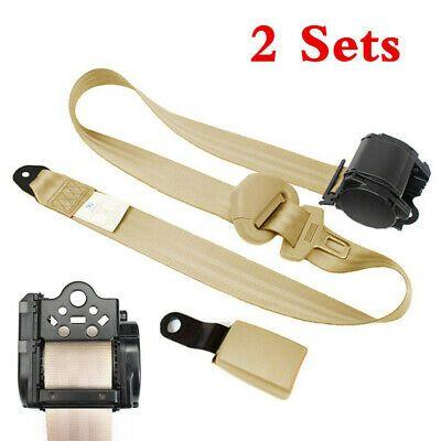 Retractable 3 Point Auto Car Safety Seat Lap Belt /& Diagonal Belt Set Kit Beige