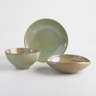 Green Zen Dinnerware Collection Green Dinnerware Dinner Plate Sets Ceramic Dinnerware Set