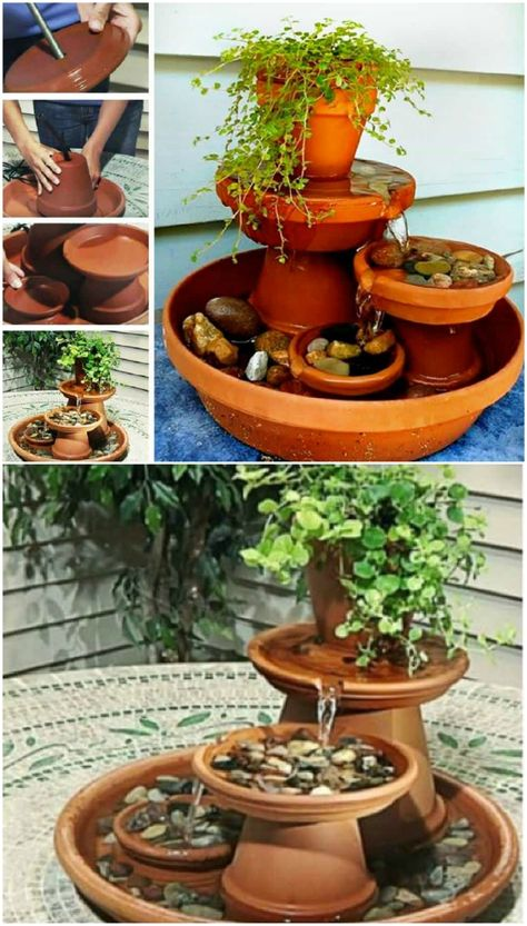 DIY Clay Pot Water Feature Is An Easy Project - DIY Clay Pot Water Feature Is An Easy Project - 100 Beautiful DIY Pots And Container Gardening Ideas Handmade Guitar String Art by Craftformers on Etsy Conheça o canal da jovem que ensina serviços de obras Diy Water Fountain, Garden Water Fountains, Outdoor Fountains, Fountain Garden, Fountain Ideas, Tabletop Fountain, Garden Ponds, Koi Ponds, Small Indoor Water Fountains
