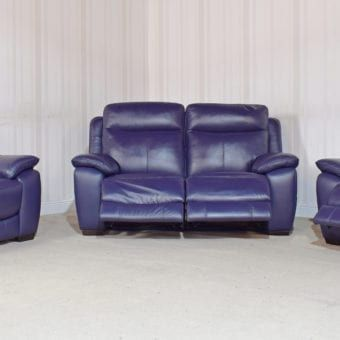 Blue Leather 3 Seater Sofa 2 Chairs Starlight Homeflair 25 Sofa Leather Sofa Sale 3 Seater Sofa