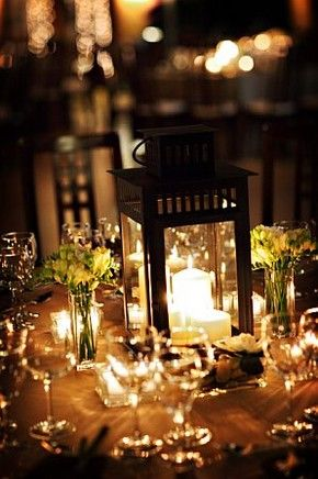 8) Tablescape or Centerpiece: Lantern Centerpiece and a Small Floral Arrangement of Beautiful Hydrangeas will give the perfect lighting and beauty to our family style dinner. #wedding