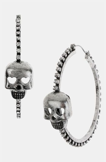 f5efe2562 Betsey Johnson 'Black Label' Skull Hoop Earrings | Nordstrom