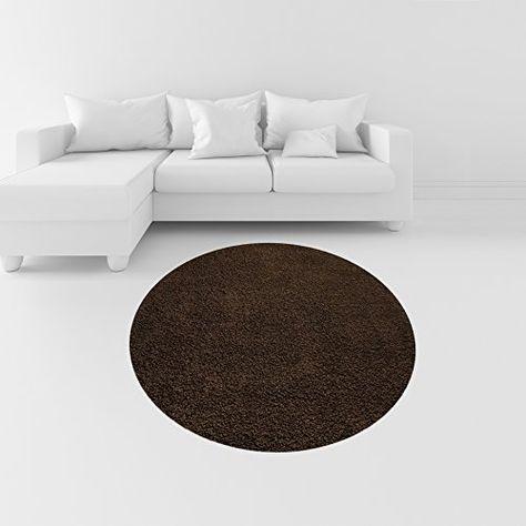 Soft Shag Round Area Rug 5 Ft Plain Solid Color Brown Home Decor