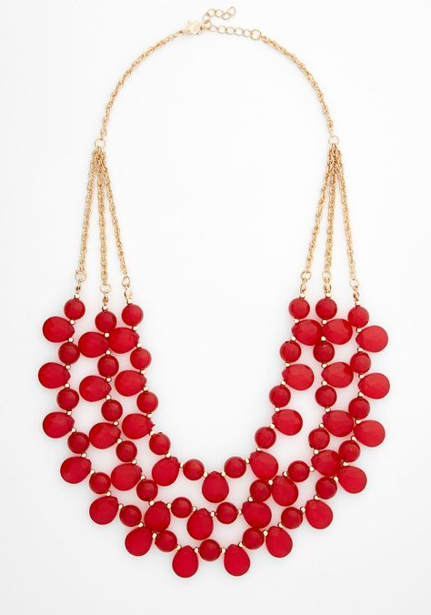 Always Impressive Necklace. Red'-y or not, compliments will come your way when you wear this beaded bib necklace! #red #modcloth