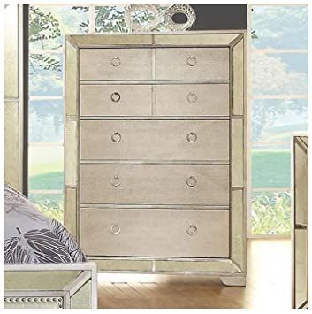 Fa Furnishing Winders Antique Mirrored 5 Drawer Tall Chest