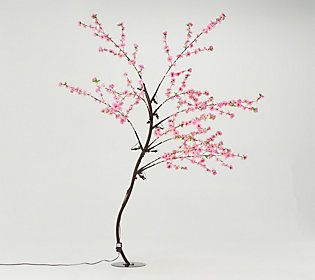 Garden Reflections 7 Plum Flower Tree W 600 Led Twinkle Lights Qvc Com Plum Flowers Flowering Trees Flowers