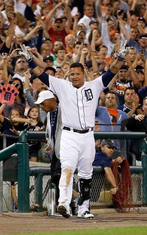 Detroit Tiger, Miguel Cabrera after hitting a ninth inning walk off home run on Aug. 17, 2013 in Detroit, Michigan