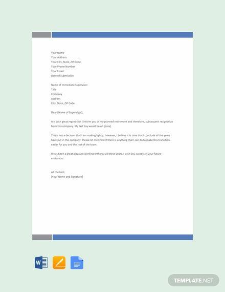 Free Retirement Resignation Letter Resignation Letter Letter