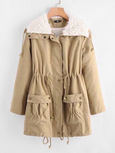 SHEIN Fleece Lined Pocket Front Drawstring Parka Coat coat