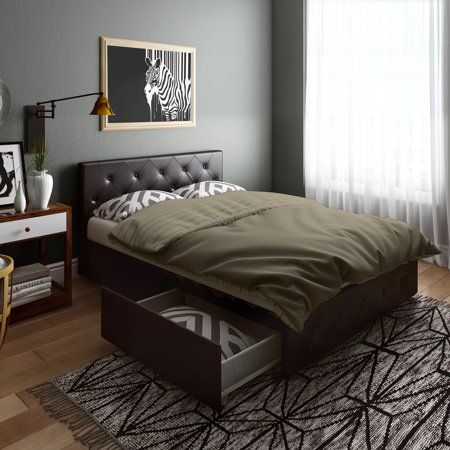 Home Leather Bed Frame Storage Bed Queen Leather Platform Bed