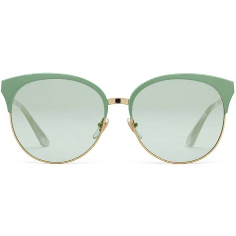 086ebc2634c Gucci Specialized Fit Round-Frame Metal Sunglasses ( 340) ❤ liked on Polyvore  featuring accessories